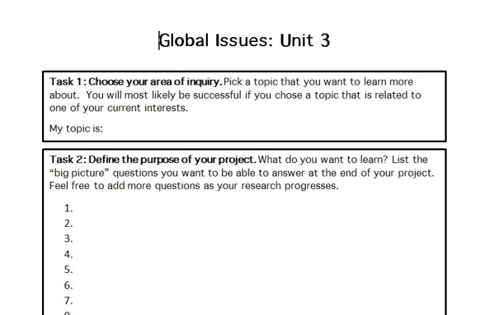 TOOL: Area of Inquiry Project Guide
